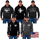 Mens Ford Mustang Hoodies with Exclusive American Flag Sticker (X-Large, CLG2-black)