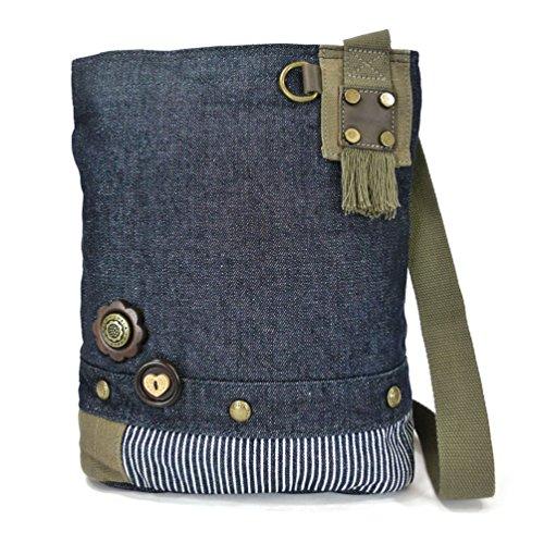 Patch Metal Key Chala Owl Handbags Fob Owl 602 Crossbody Denim Dark with Handbag Brown fqqpv5