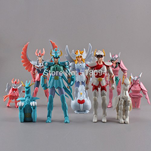 Anime Cartoon Saint Seiya Shiryu Shun Hyoga Seiya Ikki PVC Action Figure Toys Dolls 10pcs/set