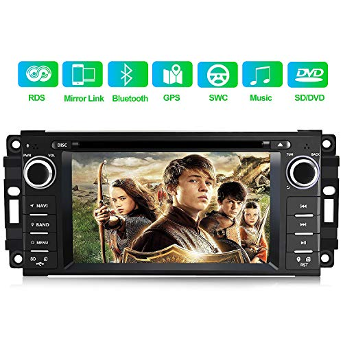 Car Stereo Radio with Bluetooth 6.2 Inch Touch Screen Multimedia Player with Mirror Link,Steering Wheel Control,CD,DVD,FM Radio Head Unit for Jeep Wrangler Chrysler Dodge Ram
