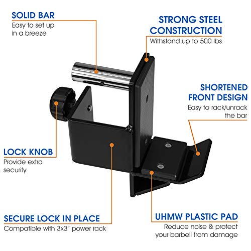 Yes4All J-Hooks Barbell Holder for Power Rack - Fit 2x2, 2x3, 3x3 Square Tube (Pair) (Black - J-Hook 3x3) by Yes4All (Image #3)