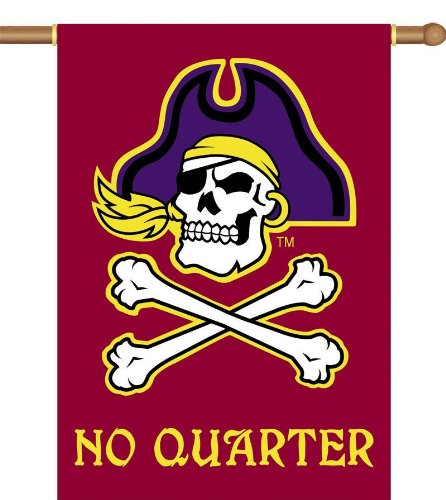 NCAA East Carolina Pirates 2-Sided 28-by-40 inch House Banner No Quarter with Pole Sleeve