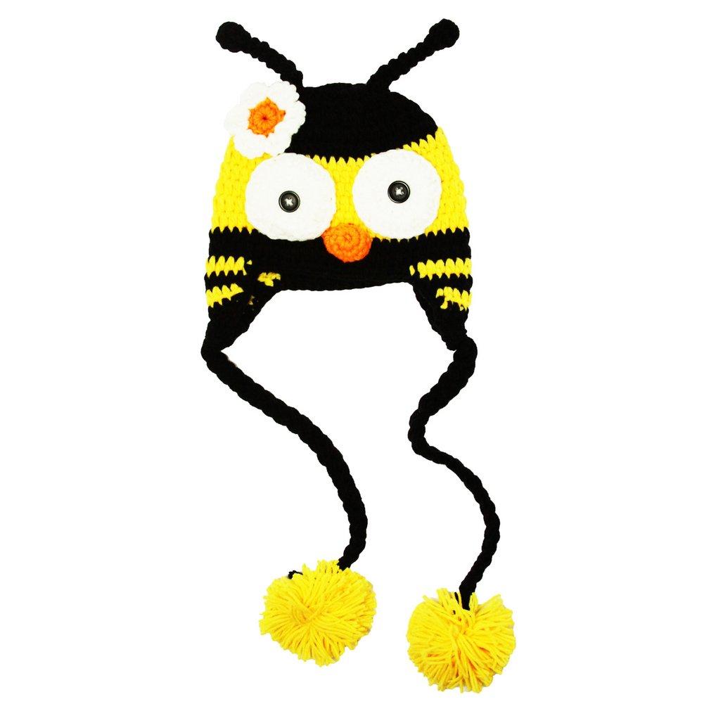 Little Girls Black Yellow Bumble Bee Beanie Tassels Crochet Hat 2-4 Years
