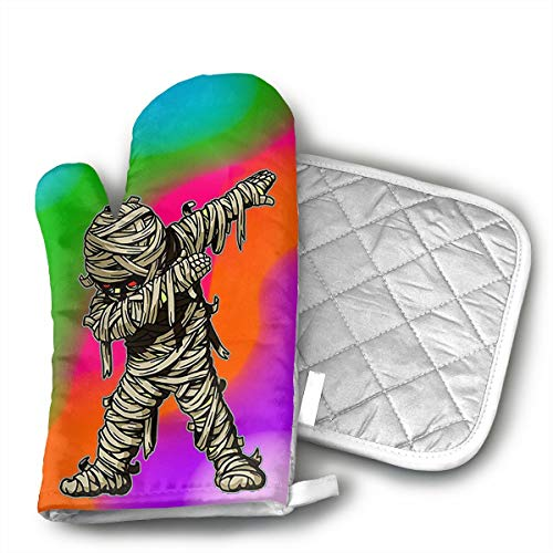 Dabbing Mummy Funny Halloween Monsters Kids Oven Mitts and Pot Holders Set with Polyester Cotton Non-Slip Grip, Heat Resistant, Oven Gloves for BBQ Cooking Baking, Grilling]()