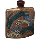 Animal World - Cats Playing Hand Etched Square Decanter