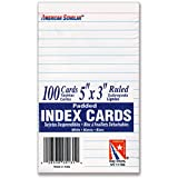 "5"" x 3"" Vertical Lined Index Cards on Tear-off Pad - Vertical Ruled, 5"" x 3""- White - 100 Cards Per pack"