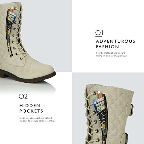DailyShoes Women's Military Lace up Buckle Combat Boots Mid Knee High Exclusive Quilted Credit Card Pocket, Quilted Ivory White Pu, 13 B(M) US by DailyShoes (Image #4)