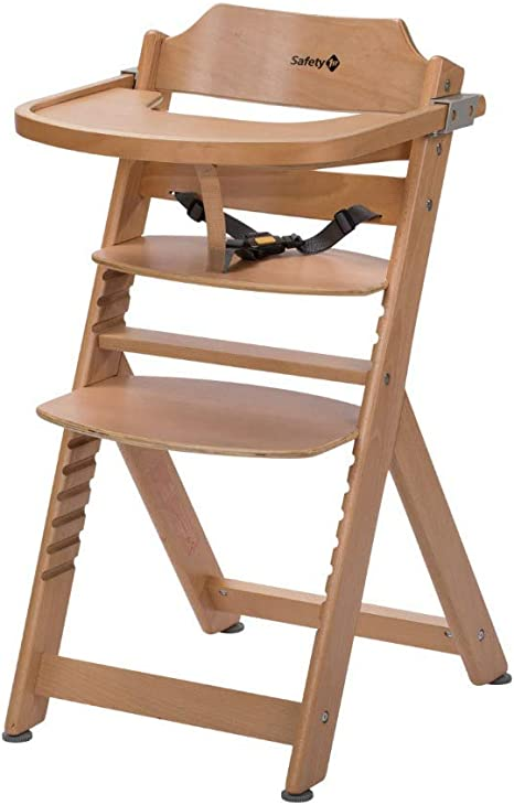 Safety 1st Timba Wooden Highchair, Adjustable Baby Highchair with Detachable Tray, 6 Months 10 Years, Natural