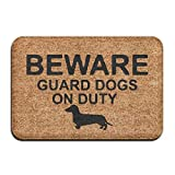 MECIKR Doormat Guard Dachshund On Duty Entrance Floor Funny