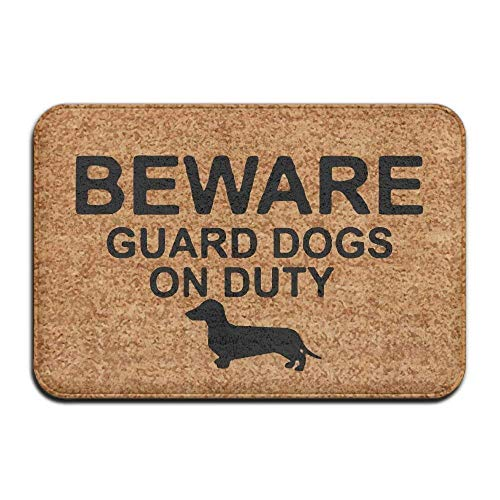 MECIKR Doormat Guard Dachshund On Duty Entrance Floor Funny by MECIKR