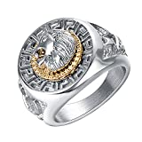 Yoursfs Lion Ring 18K Gold/Sliver Plated Hip Hop Ring Lion Ring Men's Titanium Ring (White, 12)