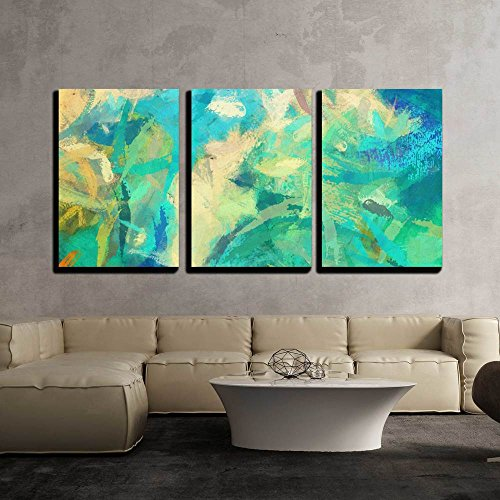 wall26 - 3 Piece Canvas Wall Art - Art Abstract Painted Background with Green, Blue and Orange Blots - Modern Home Decor Stretched and Framed Ready to Hang - 16