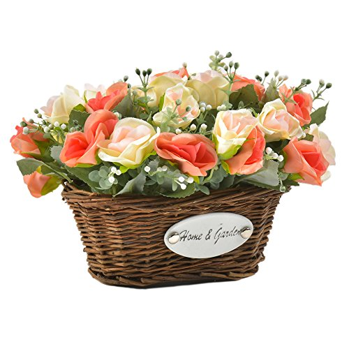 hyxflower Artificial Silk Rose Wedding Flowers Floral Arrangements Fake Flowers Table Centerpieces Gift For Home Kitchen Garden Living Room Hotel Office Party (Spring Centerpieces)