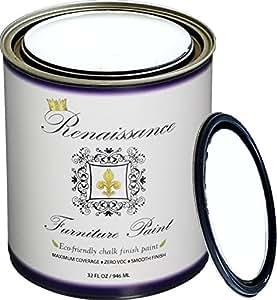 Renaissance Chalk Furniture & Cabinet Paint - Snow - Qt (32oz) - Non Toxic, Eco-Friendly, Superior Coverage -