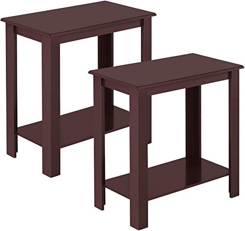 Topeakmart 2pcs Wood Chair Side End Table Lower Shelf Narrow Nightstand
