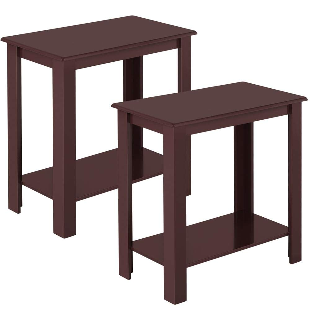 Topeakmart 2pcs Wood Chair Side End Table Lower Shelf Narrow Nightstand for Living Room, Espresso by Topeakmart