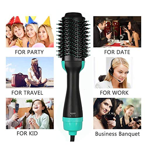 One Step Hair Dryer, 3-in-1 Hot Air Brush Salon Negative Ionic Straightener Volumizer Brush Curler Comb with Anti-Scald Feature for All Hairstyles,Green by GZD (Image #2)