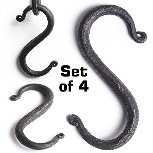 S Hooks Wrought Iron Black for Hanging - Hand Forged Heavy Duty 3/4 Inch - 4 Hooks! - Hand Forged Wrought Iron Hanging