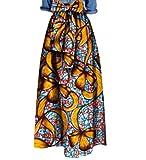 Abetteric Women's African Print Big Pendulum Bowtie Waist Party Long Skirt 14 L