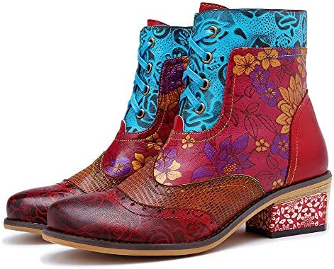 Ahmi Women Bohemian Vintage Floral Pattern Splicing Block Leather Boots