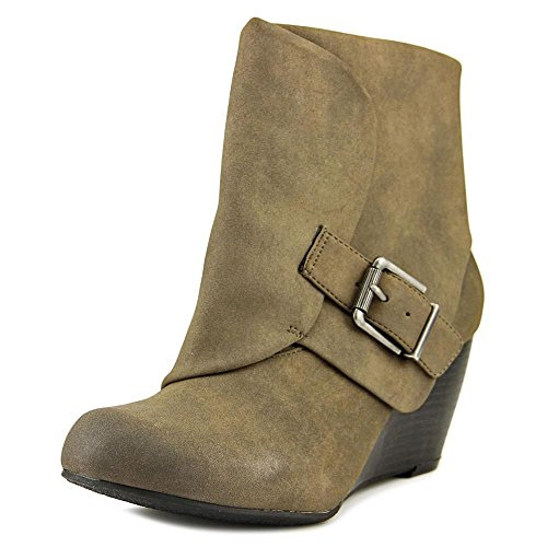 Cuffed Booties (American Rag AR35 Coreene Cuffed Wedge Ankle Booties - Chocolate, Taupe, Size 7.0)