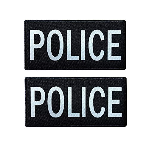 (SUVIYA 4x2 Inch Reflective Police Patch with Hook and Loop (2 Pack) (White))