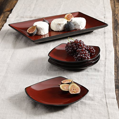 SOHO LOUNGE 5-PIECE RECTANGULAR SERVING PLATE - Square Bowl Rounded