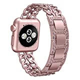 Apple Watch Band, Biaoge Stainless Steel Watch Band Strap Replacement with Alloy Crystal Rhinestone and Hand Removal Links for Apple Watch Series 3 Series 2 Series 1