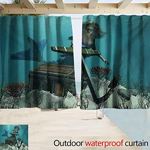 Wlkecgi Mermaid Custom Outdoor Curtain Mermaid in Ocean Sea Discovering Pirates Treasure Chest Mythical Art Print Waterproof Patio Door Panel W72 xL72 Azure Brown Cream