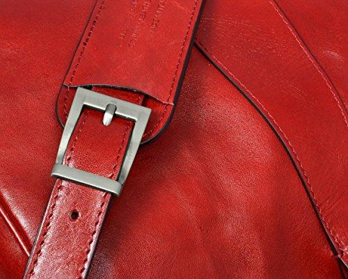 Borsone in pelle borsa da viaggio in pelle di misura media, Borsa media resistenza Rosso–Tempo
