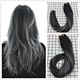 "LaaVoo 18"" 20pcs/50g Tape in Extensions 100% Remy Human Hair Extensions Balayage Ombre Color Off Black 1b to Grey Silver"