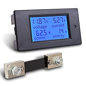 MICTUNING DC 6.5-100V 0-100A LCD Digital Display Ammeter Voltmeter Multimeter Volt Watt Power Energy Meter Blue with 100A/75mV Shunt