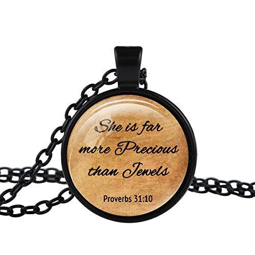 FM FM42 Black-Tone Proverbs 31:10 Christian The Bible Religious Inspirational Quote Pendant Necklace TN2643