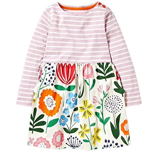 lymanchi Little Girls Cotton Long Sleeve Dress Toddler Casual Striped Dresses Cute Playwear Dress A 6
