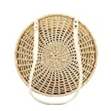 Straw Crossbody Bag Women Weave Shoulder Bag Round Summer Beach Purse and Handbags (Beige)