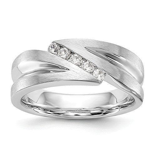 JewelrySuperMart Collection 1/4 CT 14k White Gold AA Diamond Men's Band. 0.25 ctw.