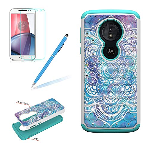 Glitter Rhinestone Case Moto G6 Play,Girlyard Hybrid 2 in 1 Colorful Painting Design Luxury Shiny Bling Diamond Back Cover with Dual Layer Shockproof Protective Phone Case,Mandala