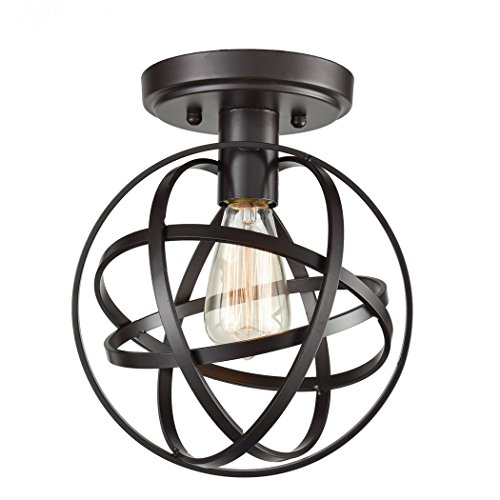 CLAXY Ecopower Antique Spherical Flush Mount Ceiling Light Metal Globe Fixture with - Spherical Globe Antique