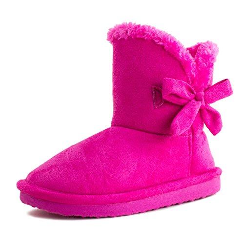 Kali Footwear Girls Ribbon Fur Ankle Short Faux Suede Boots Hot Pink 9 M US (Toddler Hot Pink Footwear)