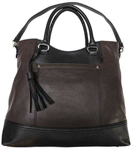 Tignanello Women's Genuine Leather Smooth Operator Shopper, Dark Brown/Black by Tignanello