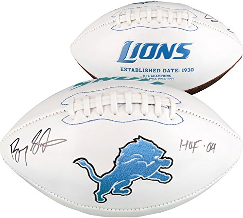 Barry Sanders Detroit Lions Autographed White Panel Football with HOF 04 Inscription - Fanatics Authentic (Barry Sanders Autographs)