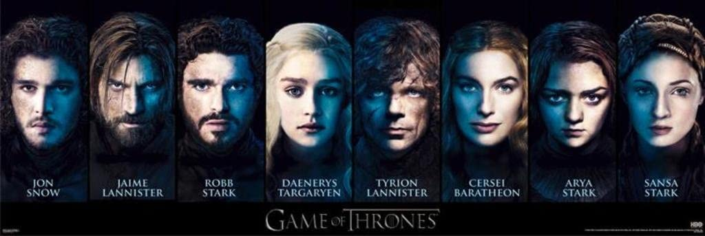 Game of Thrones Character Faces Epic Fantasy Action HBO TV Television Show Print Poster 12x36