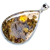 "Huge Indonesian Plume Agate 925 Sterling Silver Pendant 2 1/2"" - Handmade Jewelry PD622157"