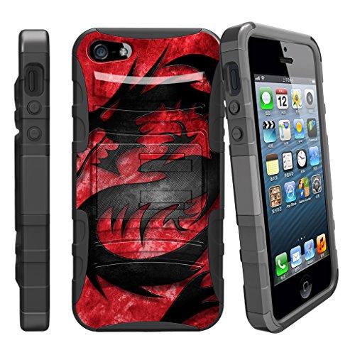(MINITURTLE Case Compatible w/iPhone SE, 5s 5SE   iPhone 5 / 5s / SE Case [Clip Armor] Shock Resistant Hybrid Case w/Kickstand + Bonus Holster Belt Clip Red Dragon)