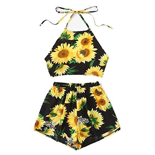 Women 2 Piece Outfits Sets 2019 Striped Halter Neck Criss Cross Crop Tops Pleated Wide Leg Shorts Summer Casual Beach Short Set Clubwear