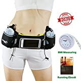 [Upgrade Version] Running belt with water Bottle by NARA Sport for running, walking,cycling,climbing, Hiking with Touchscreen Cellphone – Bonus a BMI Body Measuring, ebook, video Training