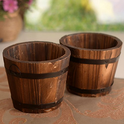 SNNplapla Indoor/Outdoor Wood Whisky Barrel Planter Gardeb Flower Vegetable Pots Flower Top (Flower Pots Outdoor)