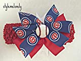 Chicago Cubs Baby Girl Boutique Bow Crocheted Headband