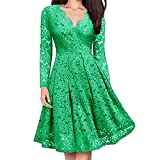 Simayixx Women's Vintage Patchwork Pockets Puffy Swing Lace Party Dress Mini Short Dresses Elegant Cocktail Tops Blouses Green