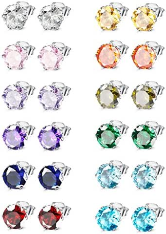 Jstyle Jewelry Stainless Steel Womens CZ Stud Earings Set Piercing 8-12 Pairs